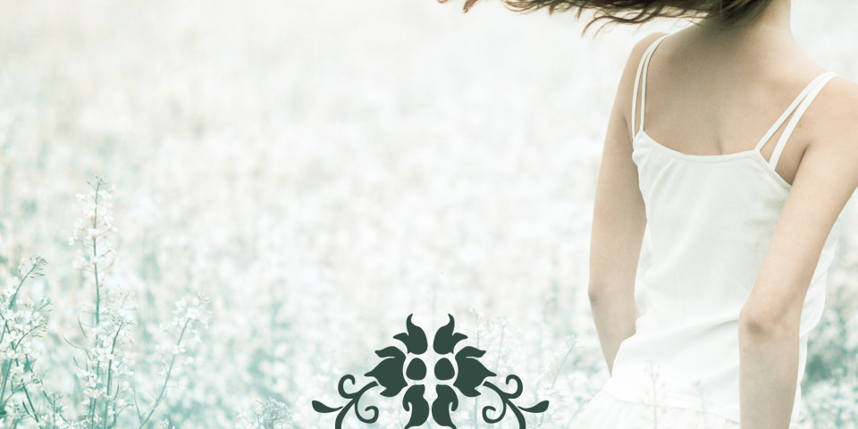 Girl on a white field